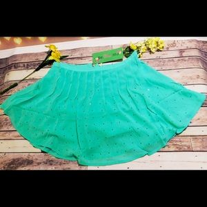 Mint skirt with silver embellishments